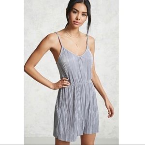NWT! Forever 21 Pleated Silver Dress